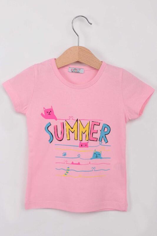 ESSU - Summer Baskılı Simli Kız Çocuk Tshirt | Pembe