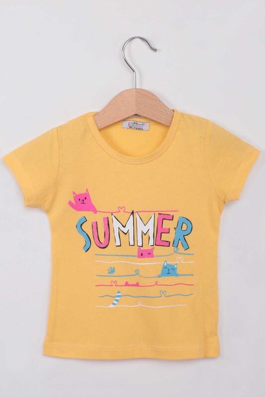 ESSU - Summer Baskılı Simli Kız Çocuk Tshirt | Sarı