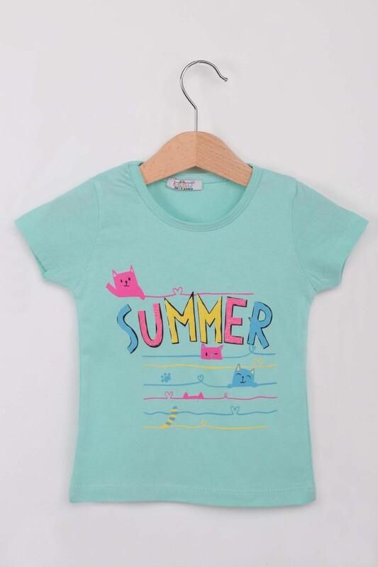 ESSU - Summer Baskılı Simli Kız Çocuk Tshirt | Su Yeşili