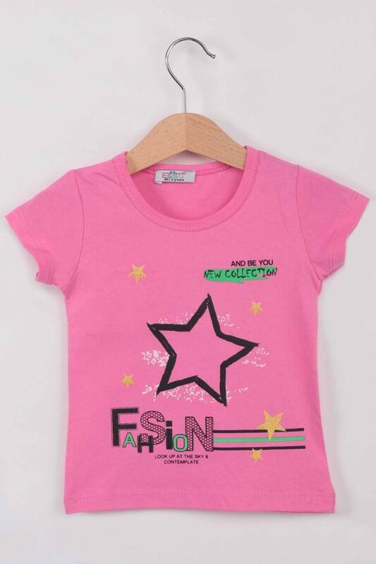 ESSU - Fashion Baskılı Kız Çocuk Tshirt | Fuşya