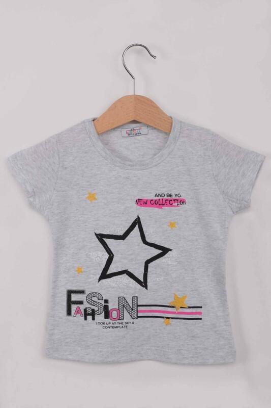 ESSU - Fashion Baskılı Kız Çocuk Tshirt | Gri