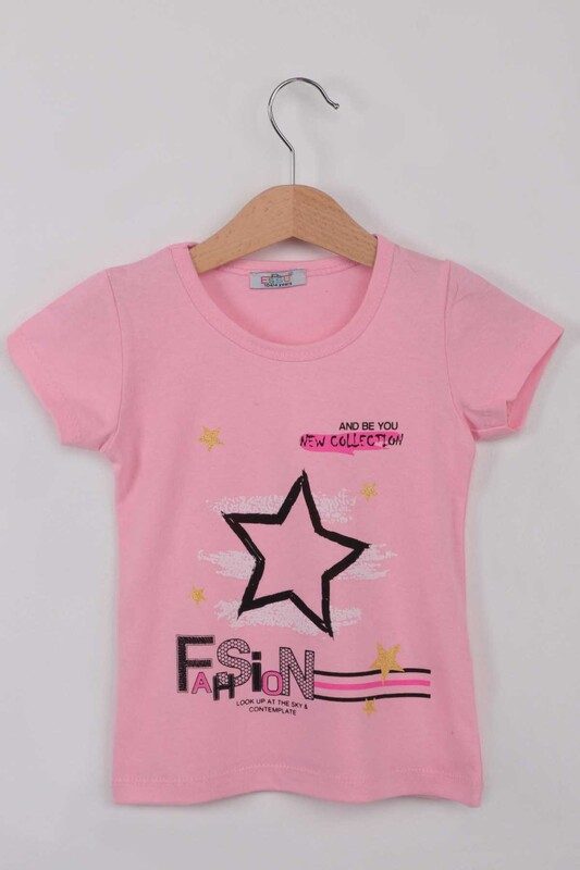ESSU - Fashion Baskılı Kız Çocuk Tshirt | Pembe