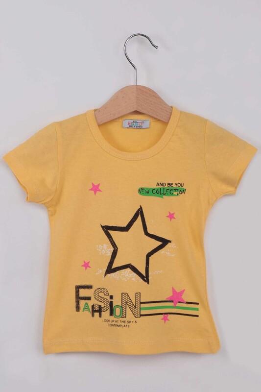 ESSU - Fashion Baskılı Kız Çocuk Tshirt | Sarı