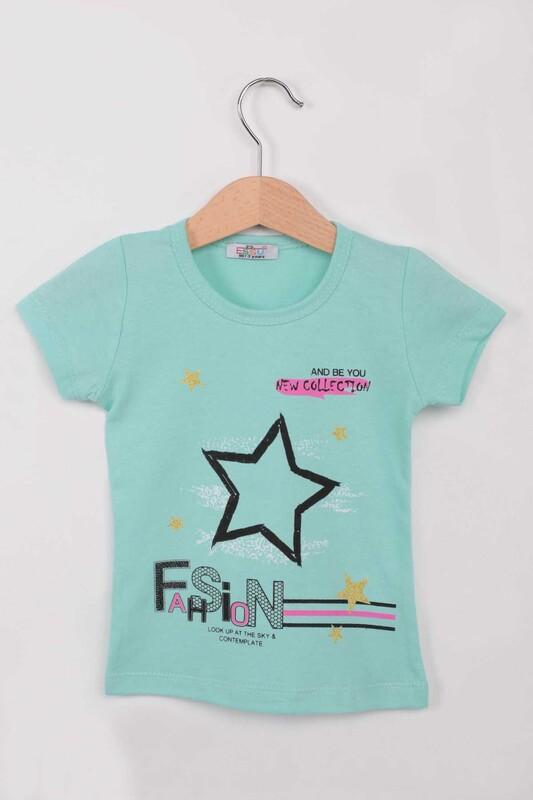 ESSU - Fashion Baskılı Kız Çocuk Tshirt | Su Yeşili
