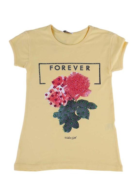 WALOX - Taş Süslemeli Çocuk T-Shirt 4008 | Sarı