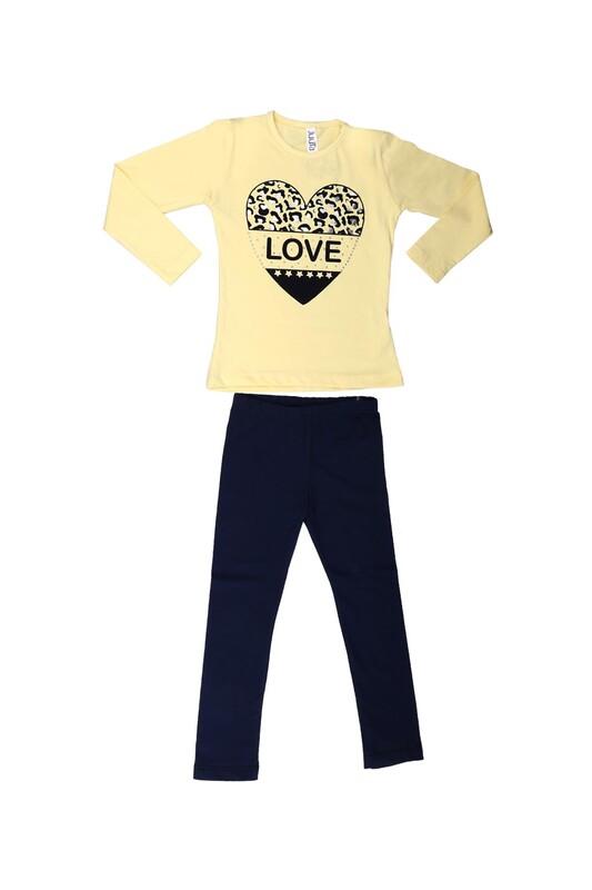 Juuta - Juuta Kalp Baskılı Taytlı Çocuk Takım | Sarı