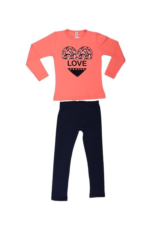 Juuta - Juuta Kalp Baskılı Taytlı Çocuk Takım | Nar Çiçeği