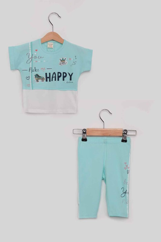 Luminoso - Happy Kız Çocuk Taytlı Takım | Mint