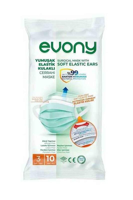 EVONY - Evony 3 Katlı Filtreli Burun Telli Maske 10 Adet