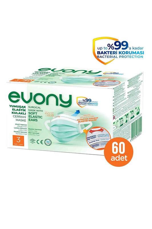 EVONY - Evony 3 Katlı Filtreli Burun Telli Maske 60 Adet