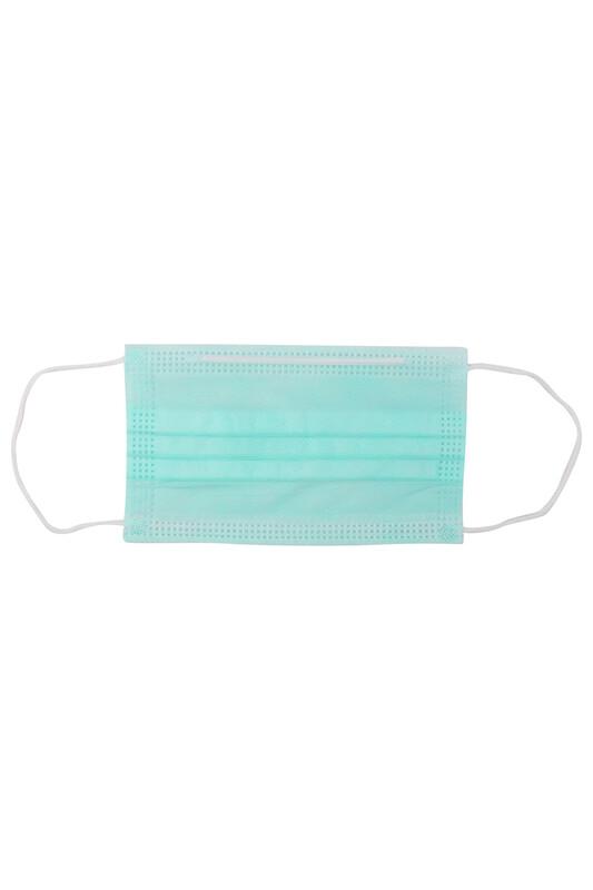 SİMİSSO - Telli 3 Katlı Renkli Maske 10 Adet | Su Yeşili