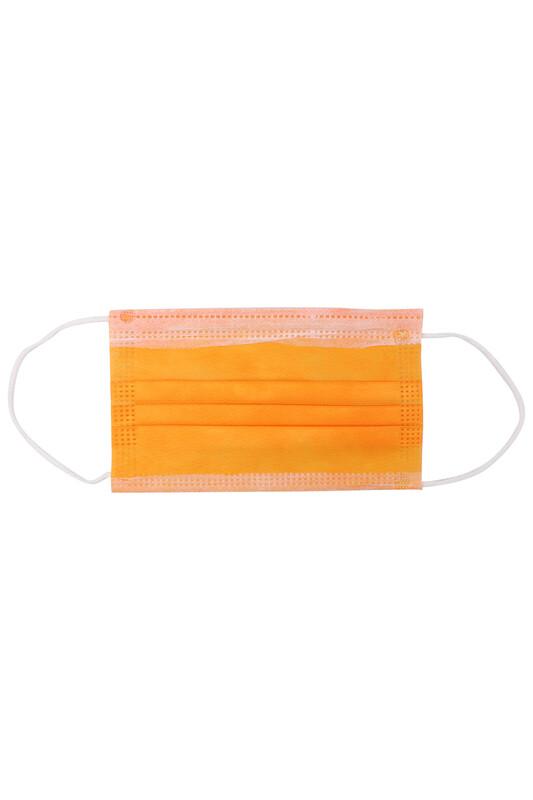 SİMİSSO - Telli 3 Katlı Renkli Maske 10 Adet | Turuncu