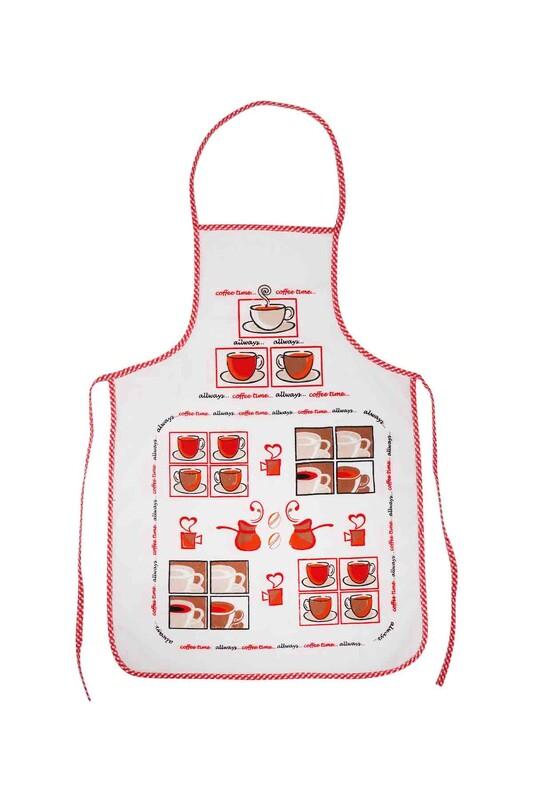SİMİSSO - Baskılı Mutfak Önlüğü | Kırmızı
