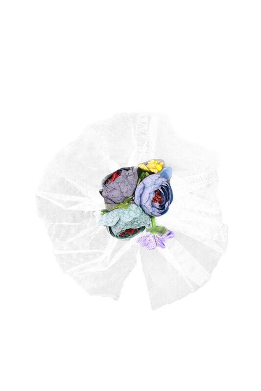 SİMİSSO - Çiçekli Bohça Süsü   Beyaz