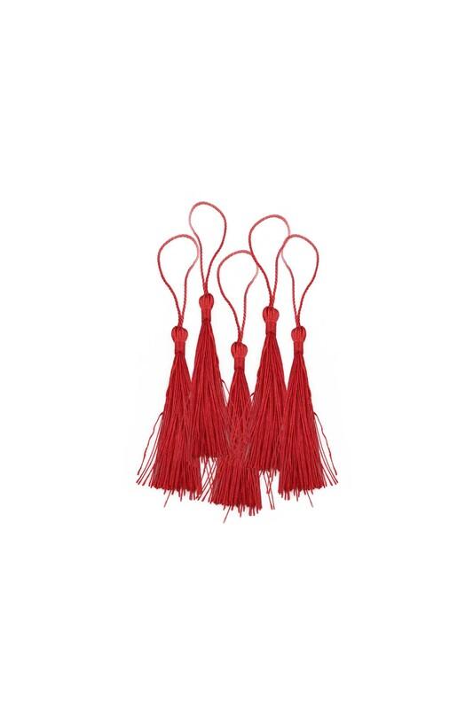 SİMİSSO - Renkli Püskül 5'li 8 cm   Kırmızı