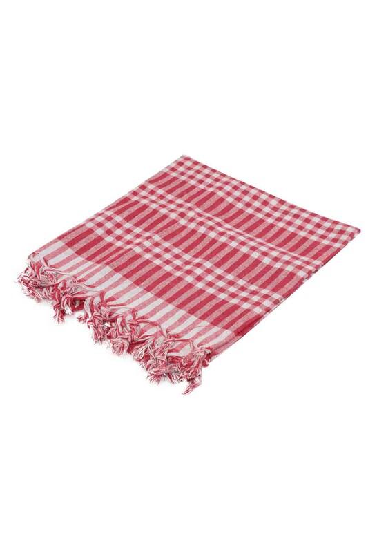 SİMİSSO - Ekoseli Sofra Bezi 170x170 cm Kırmızı