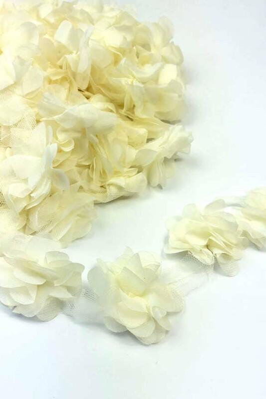 SİMİSSO - Lazer Kesim Şerit Çiçek 98 Krem
