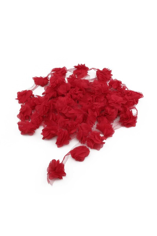 SİMİSSO - Lazer Kesim Şerit Çiçek Kırmızı 5m