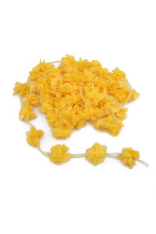 SİMİSSO - Lazer Kesim Şerit Çiçek Sarı 5m