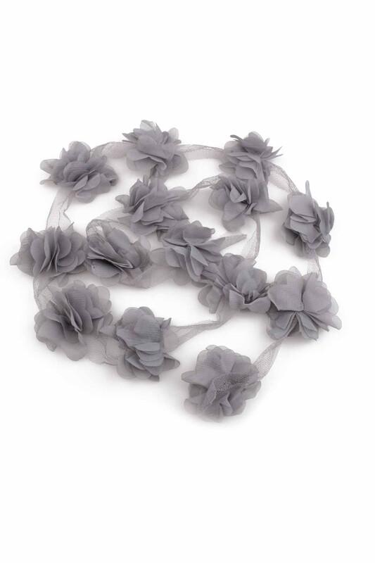 SİMİSSO - Lazer Kesim Şerit Çiçek Koyu Gri 1m