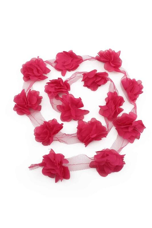 SİMİSSO - Lazer Kesim Şerit Çiçek Fuşya 1m