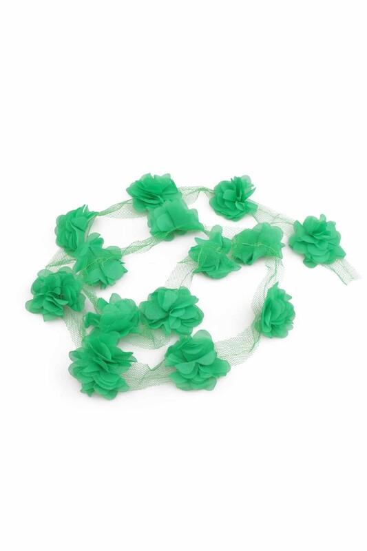 SİMİSSO - Lazer Kesim Şerit Çiçek Yeşil 1m