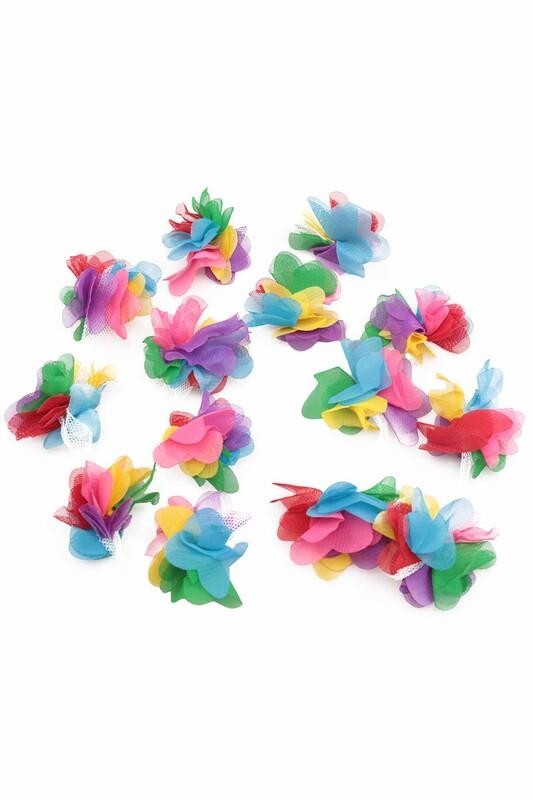 SİMİSSO - Lazer Kesim Şerit Çiçek Renkli 1m