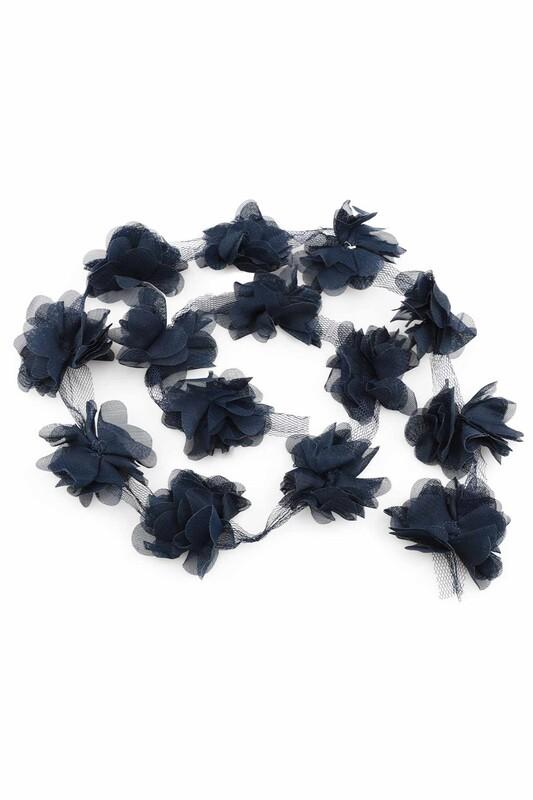 SİMİSSO - Lazer Kesim Şerit Çiçek Lacivert 1m