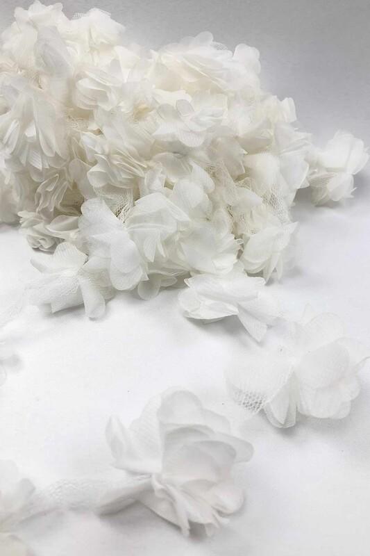SİMİSSO - Lazer Kesim Şerit Çiçek Kırık Beyaz 1m