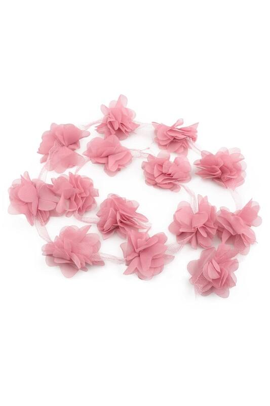 SİMİSSO - Lazer Kesim Şerit Çiçek Açık Gül Kurusu 1m