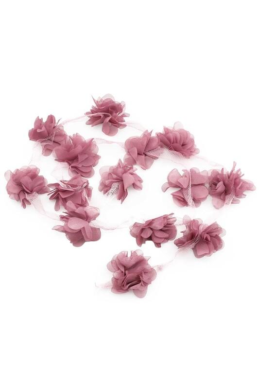 SİMİSSO - Lazer Kesim Şerit Çiçek Koyu Gül Kurusu 1m