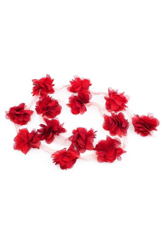 SİMİSSO - Lazer Kesim Şerit Çiçek Kırmızı 1m