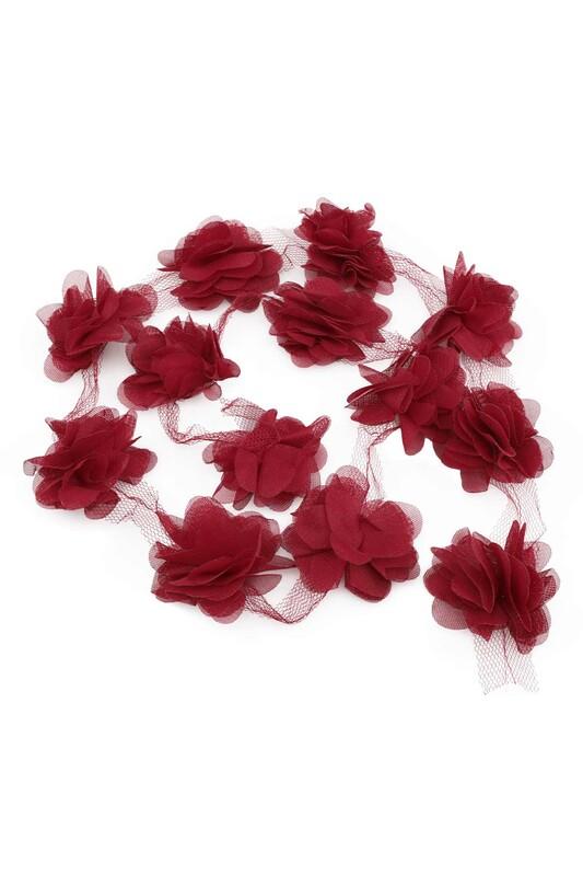 SİMİSSO - Lazer Kesim Şerit Çiçek Açık Bordo 1m