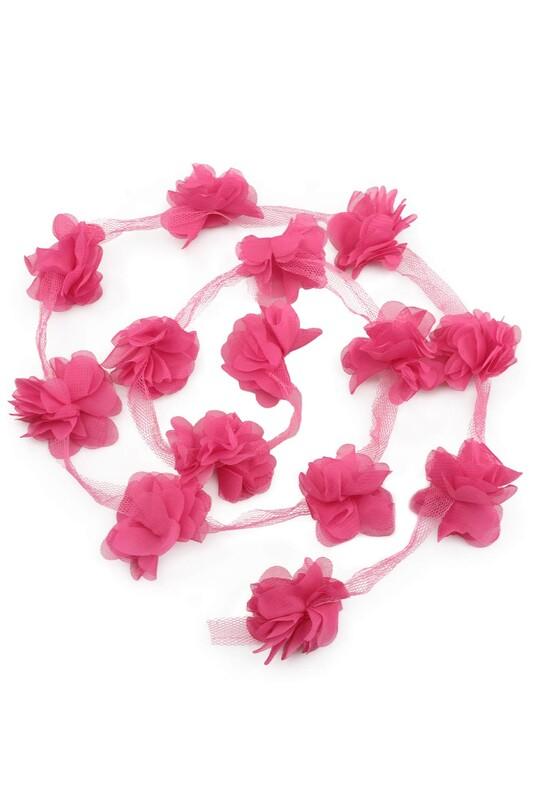 SİMİSSO - Lazer Kesim Şerit Çiçek Pembe 1m