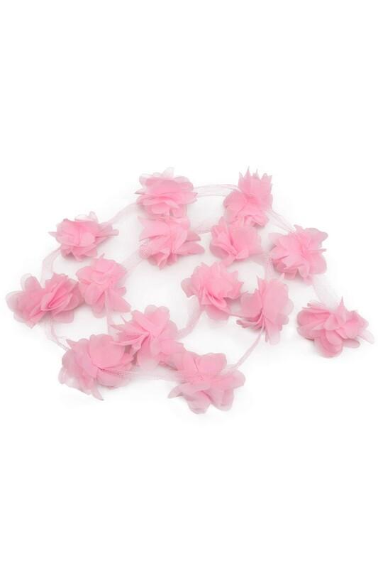 SİMİSSO - Lazer Kesim Şerit Çiçek Şeker Pembe 1m