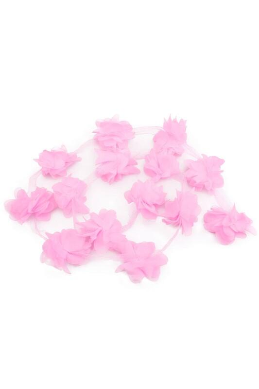 SİMİSSO - Lazer Kesim Şerit Çiçek Bebe Pembe 1m