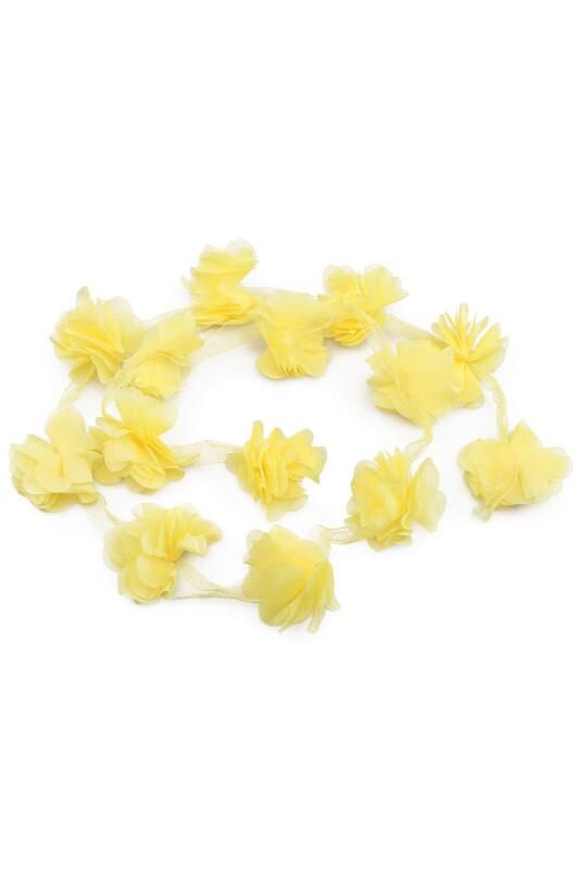 SİMİSSO - Lazer Kesim Şerit Çiçek Neon Sarı 1m