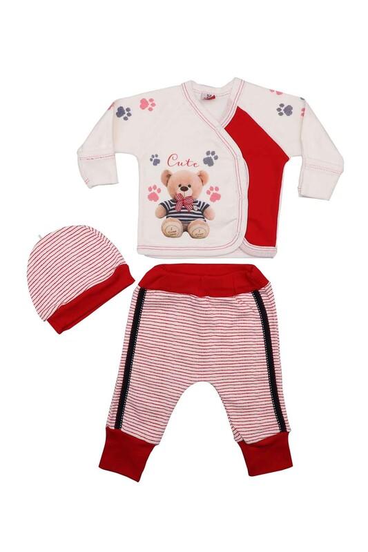 AGUCUKBABY - Agucuk Baby Çizgili Ayıcıklı Zıbın Takımı 3'lü 20118   Kırmızı