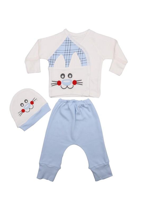 AGUCUKBABY - Agucuk Baby Kedi Desenli Zıbın Takımı 3'lü 20146   Bebe Mavi