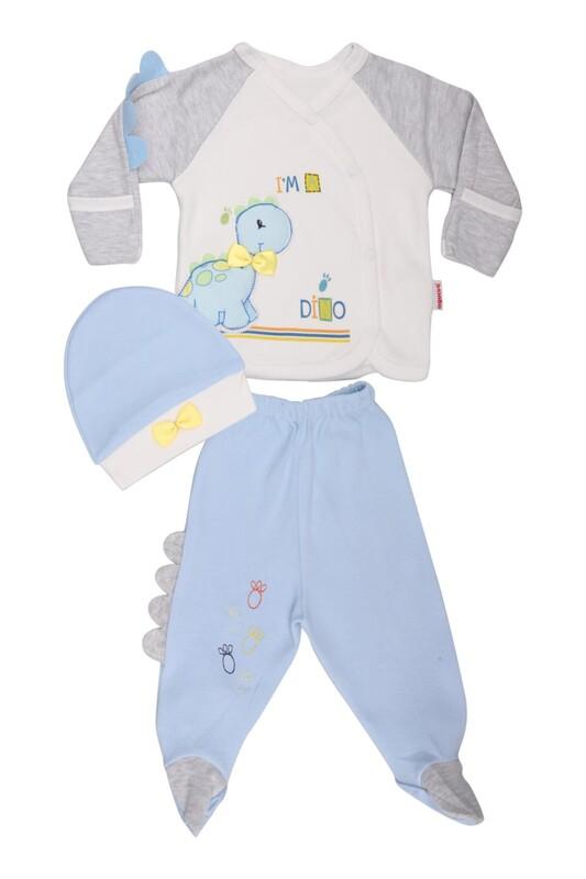 AGUCUKBABY - Agucuk Baby Şişme Dinazorlu 3'lü Zıbın Takımı 20105   Mavi