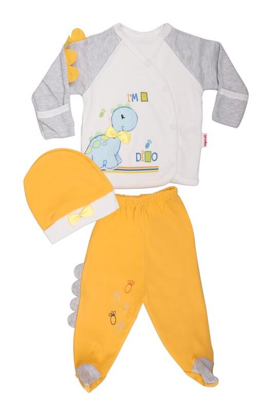 AGUCUKBABY - Agucuk Baby Şişme Dinazorlu 3'lü Zıbın Takımı 20105 | Sarı