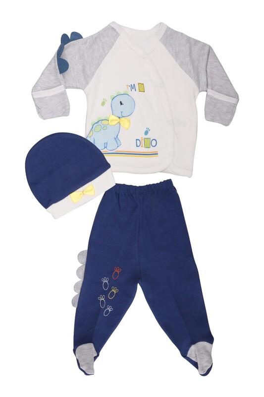 AGUCUKBABY - Agucuk Baby Şişme Dinazorlu 3'lü Zıbın Takımı 20105   Lacivert