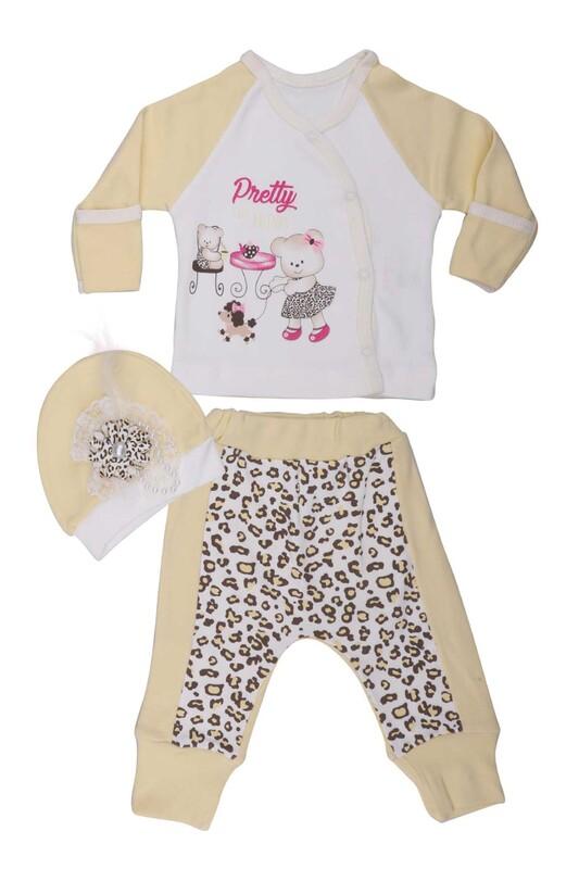 AGUCUKBABY - Agucuk Baby Leopar Desenli 3'lü Zıbın Seti 20126   Sarı
