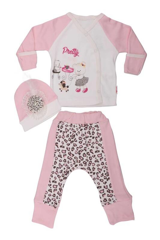 AGUCUKBABY - Agucuk Baby Leopar Desenli 3'lü Zıbın Seti 20126   Pembe