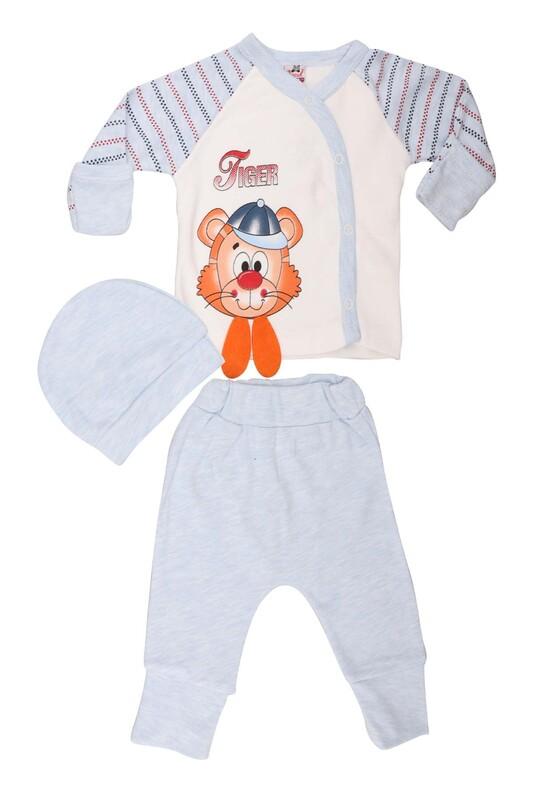 AGUCUKBABY - Agucuk Baby Şapkalı Tiger Desenli 3'lü Zıbın Takımı 20113 | Mavi