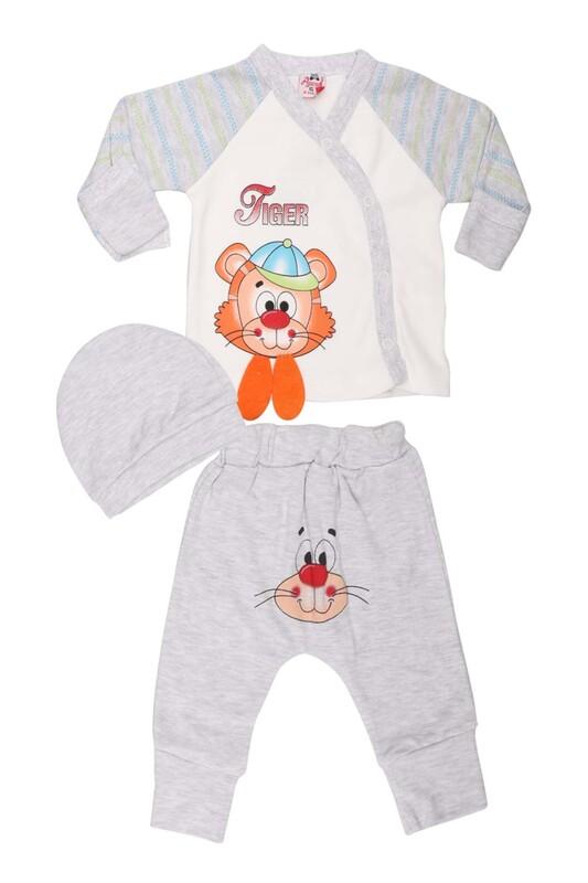 AGUCUKBABY - Agucuk Baby Şapkalı Tiger Desenli 3'lü Zıbın Takımı 20113   Gri