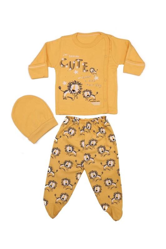 HOPPALA BABY - Hoppala Baby Aslan Desenli 3'lü Zıbın Seti 2023   Sarı