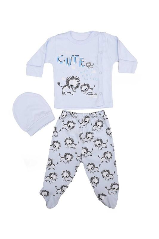 HOPPALA BABY - Hoppala Baby Aslan Desenli 3'lü Zıbın Seti 2023   Mavi
