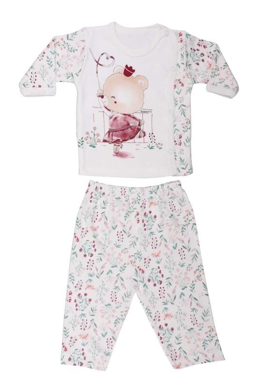 HOPPALA BABY - Ayıcık Desenli Zıbın Takımı 2064   Beyaz