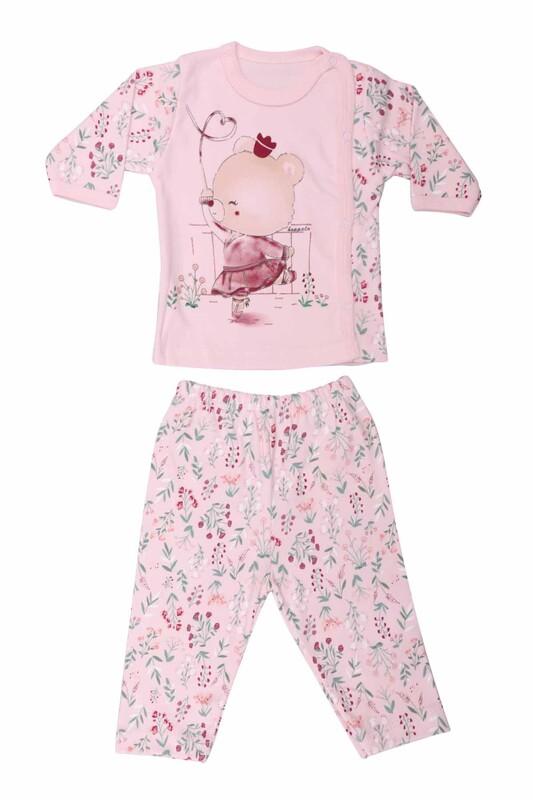HOPPALA BABY - Ayıcık Desenli Zıbın Takımı 2064   Pembe